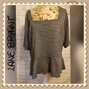 Lane Bryant Black and White Checkered Peplum